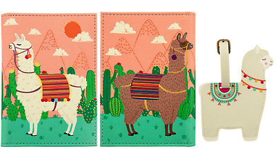 LLama Luggage Tag and Passport Holder Cover Travel Wallet Case Sass  Belle