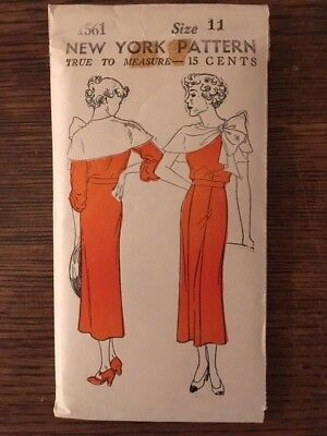 Vintage 1933 NEW YORK PATTERN CO. JUNIORS' AND MISSES' DRESS #1561