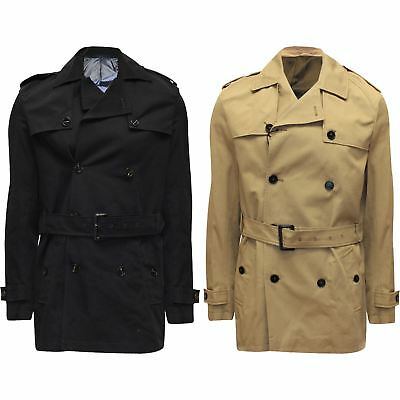 New Mens River Island Winter Trench Coat Belted Double Breasted Jacket Mac S-XL