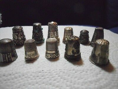 Vintage lot of 11 Sterling Silver Sewing Thimbles--6 Mexico 5 Other Brands