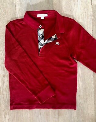 Authentic BURBERRY Boys Polo Shirt Red Size 8 Y Long  Sleeve
