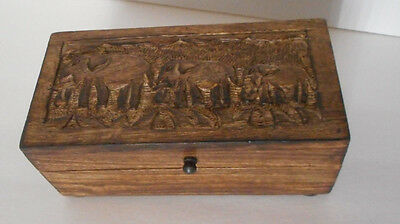 hand carved in India wood box with Elephant carving jewelry trinket new with tag
