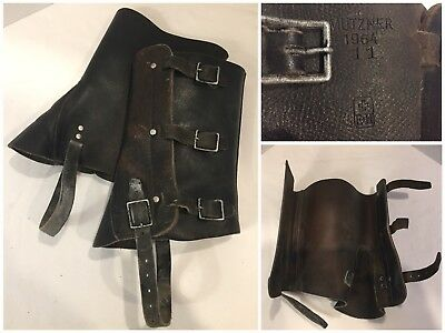 Vintage Leather Mutzner Boot Covers Gaiters Spats Military Motorcycle Steampunk