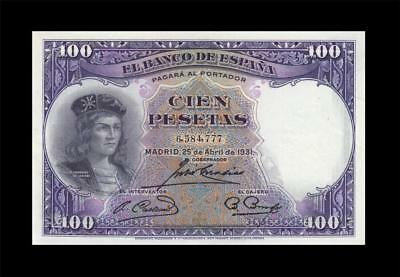 25.4.1931 BANK OF SPAIN 100 PESETAS MADRID **Consecutive 1 of 2** (( aUNC ))