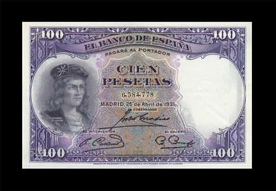 25.4.1931 BANK OF SPAIN 100 PESETAS MADRID **Consecutive 2 of 2** (( aUNC ))
