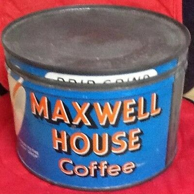 MAXWELL HOUSE COFFEE TIN & LID-Tilted Coffee Cup Design