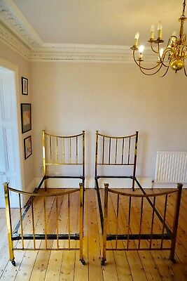 Pair of Antique Brass Beds Single Size Country House Style 1900's Maple & Co.
