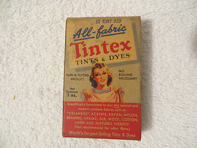 Vintage TINTEX ALL FABRIC TINTS AND DYES ADVERTISING BOX; #32 Ruby Red