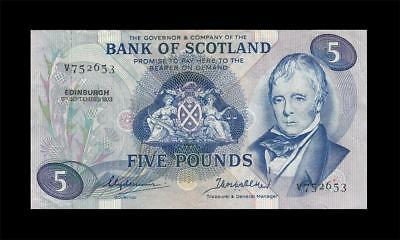 5.9.1973 Bank Of Scotland 5 Pounds (( Ef ))