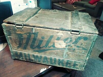 Antique Miller Beer Wood Shipping Crate  Milwaukee Box Case Old Brew Bar Tavern