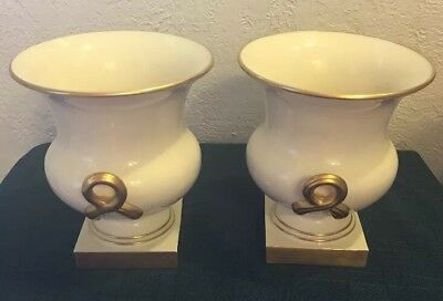 Vintage Rare Lenox Pair Of Ivory Vases Gold Twist Handles Near Mint Condition!