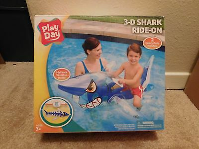 Brand new in the box Play Day 5 foot long 3-D Shark Ride-On