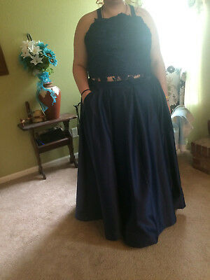 Navy blue satin evening gown size 22W L@@K WORN ONCE!  Wedding, Formal, Prom