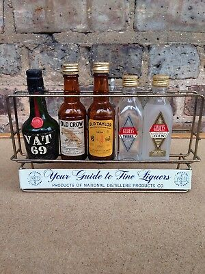 Vintage National Distilllers Products Mini Liquor Bottle Store Display Rack Sign
