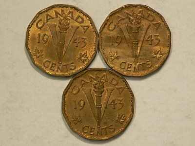 Canada 1943 Tombac 5 Cents Lamination & Die Crack Varieties Lot of 3 Coins #9390