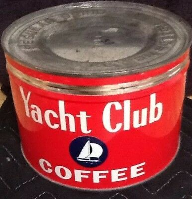 "Vintage ""yacht Club Coffee"" Tin & Lid. Key Tab At Bottom"