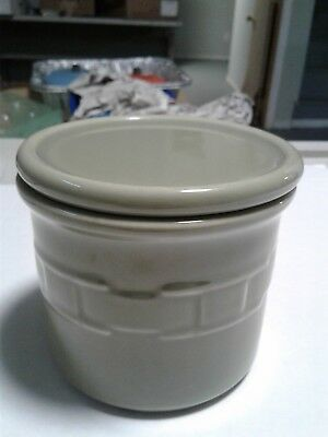 Longaberger Pottery Woven Traditions Sage Green Pint Crock w/Pint Candle
