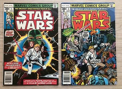 Star Wars #1 & #2 July/ Aug 1977 Marvel Comics First Issue Roy Thomas Chaykin