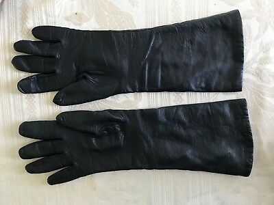 """VNT Kaufmann's black leather 14.5"""" gloves Women's 8  Lined made in ITALY"""