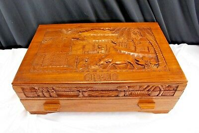 Vintage Carved Exotic Wood Asian Themed Artist, Jewelry/Trinket Box Made in Phil