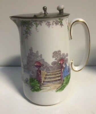 A Staffordshire New Chelsea Terrace China Hot Water Jug With Pewter Lid
