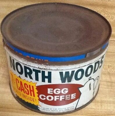 "VINTAGE""NORTH WOODS EGG COFFEE"" TIN-Replaced Top Lid"