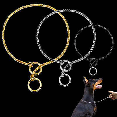 Chrome Snake Chain Choke Collar Obedience Training Dog Show Collar Gold Sliver