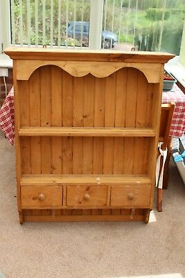 Antique pine dresser top with 3 drawers