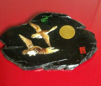 Oriental Art -Vintage Coromandel plaque with carved stone Geese Signed.