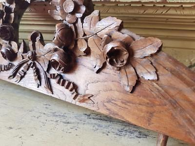Stunning 19thC Antique French Carved Oak Architectural Pediment-Floral Garland