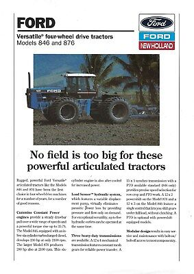 NEW LISTING - Ford New Holland 846 & 876 Tractors Brochure