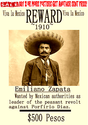 Emiliano Zapata Old West Wanted Poster Mexico Revolution Villa Diaz Army War