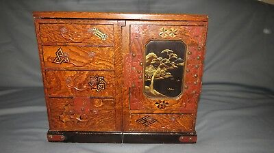 A Rare Mulberry Antique Japanese Desk/cabinet From Meiji Period