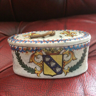 faience tin glazed antique armorial trinket pot handpainted, leather pull