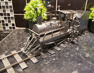 LARGE Vintage Metal Train , Driver , Track , Metal Art work , 4 kg , stunning