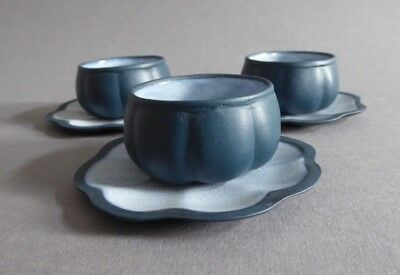 Japanese celadon glaze crackle ware Yixing tea bowls and saucers with mark