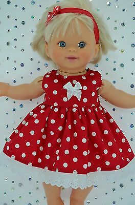 "Play n Wear Doll Clothes For 13"" Little Mommy/Baby Born  RED DOT DRESS~HEADBAND"