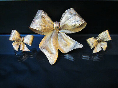 signed Vendome Vermeil Gold Over Sterling Silver Bow Earrings Brooch Set RARE!!!