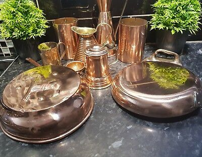 Vintage Copper items JOB LOT , Jelly mould , frying pan , other mixed copper ,