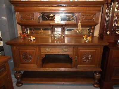 A Stunning Large Solid Oak Carved  Mirror Back Buffet Server Sideboard C1900