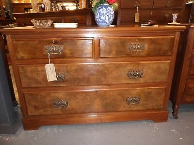 A Superb Antique Edwardian Solid Walnut And Burr Walnut Chest Of Drawers C1910