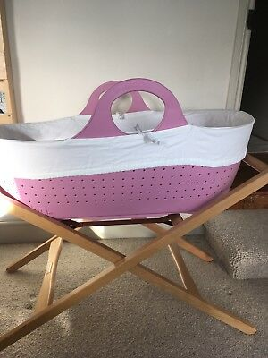 Moba Moses basket in pink with stand, mattress, basket liner and sheets