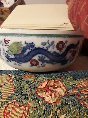 Chinese Dragon And Bird Antique Bowl Antique Registered