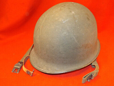 Authentic late WW2 M1 HELMET w MSA LINER + CHIN STRAPS Swivel Bale US