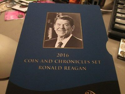 2016 Coin And Chronicles Set, Ronald Reagan Silver Eagle, Bronze Medal & $1
