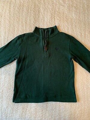 EUC Chaps Boys Size 7 Sweater Knit Shirt Half Zip Green