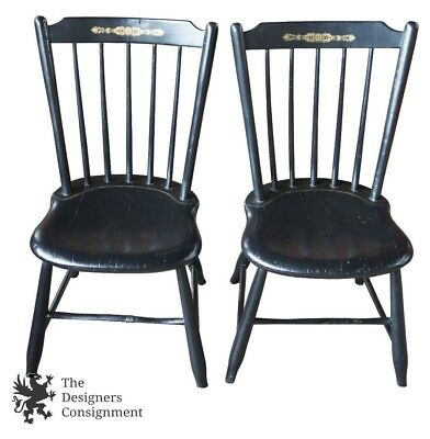 2 American Antique Primitive Windsor Back Hitchcock Style Black Side Chairs