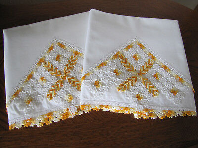 Vintage Pair Of Pillowcases White & Yellow White Fancy Crocheted Trim Exquisite
