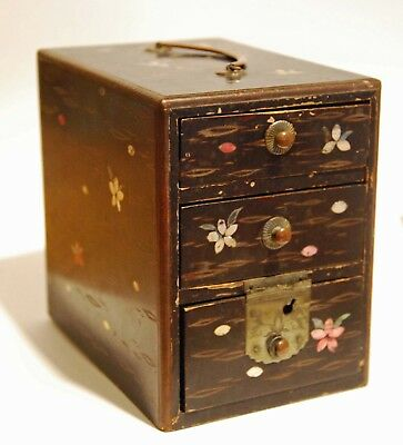 Antique Japanese Lacquer Jewellery spice Box Kanai MINIATURE CHEST DRAWERS c1900