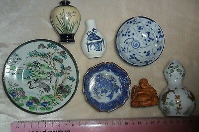 Collection of Japanese Chinese ? oriental porcelain pottery miniatures antique